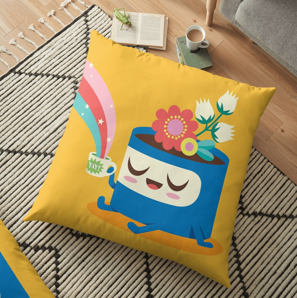 Flower Pot Head and Magic Tea Floor Pillow