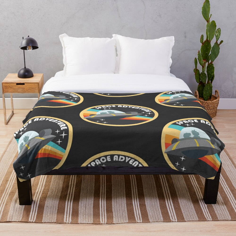 space adventure RICK AND MORTY yellow Throw Blanket