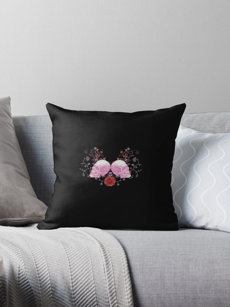 Skulls on Throw Pillow by Voila and Black Ribbon