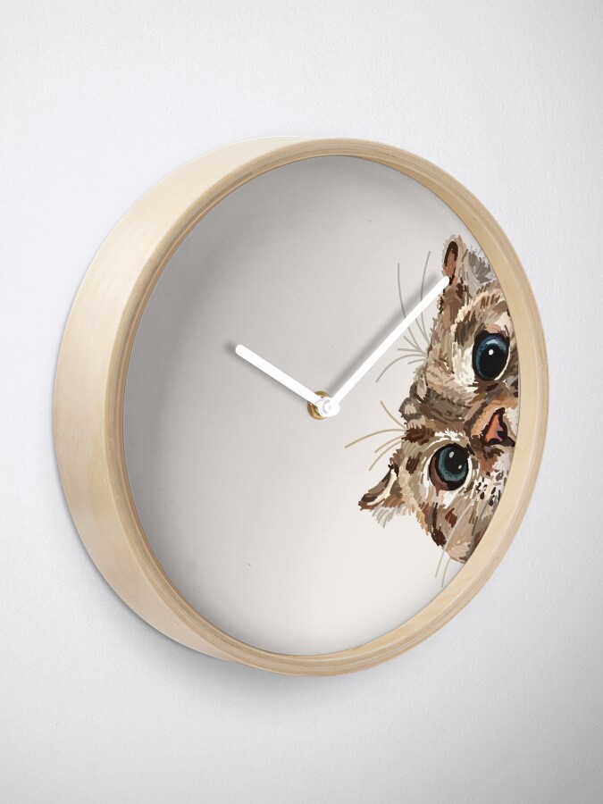Alternate view of Peeking Cat Clock
