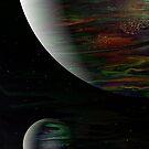 Dark Planet: fluid acrylic pour art, digital art; outer space decor by kerravonsen