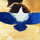 Eagle Soaring: fluid acrylic pour art; abstract bird art; desert art by kerravonsen