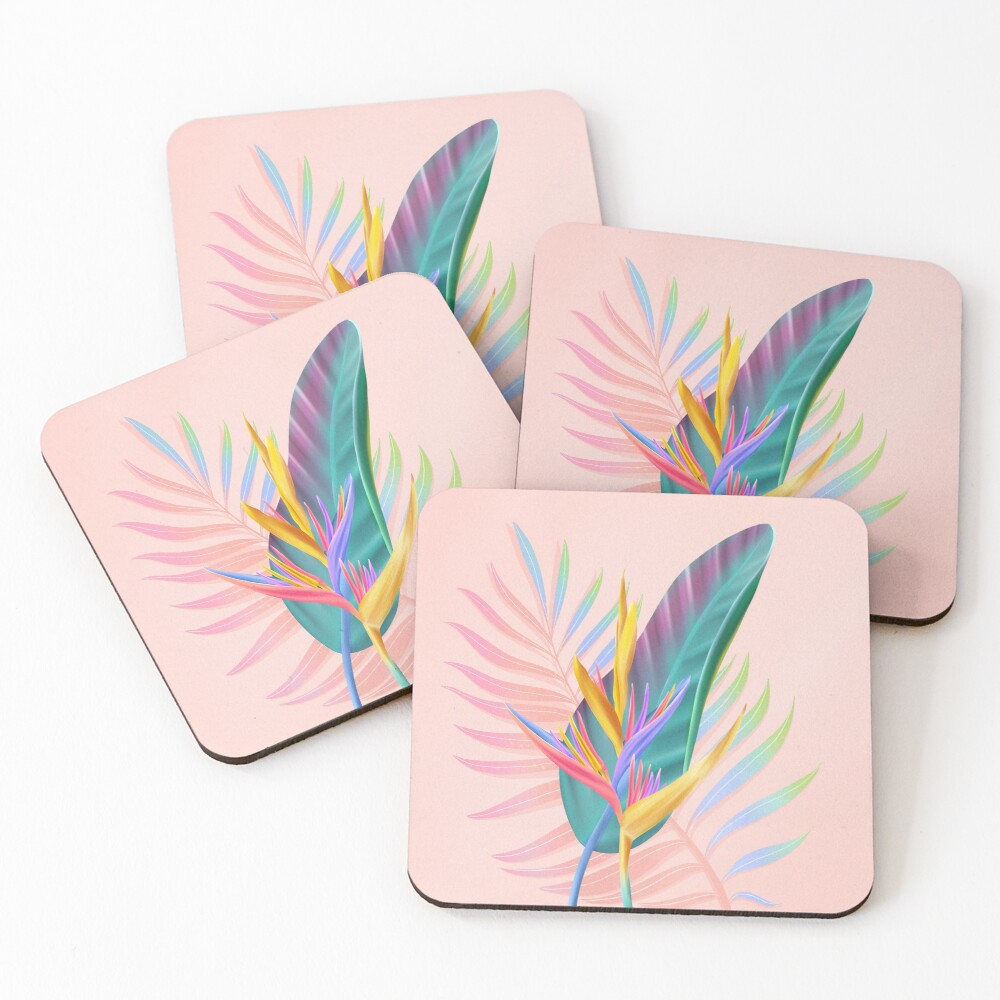 tropical bird of paradise Coasters (Set of 4)