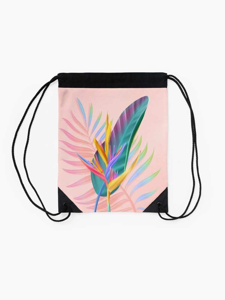 Alternate view of tropical bird of paradise Drawstring Bag