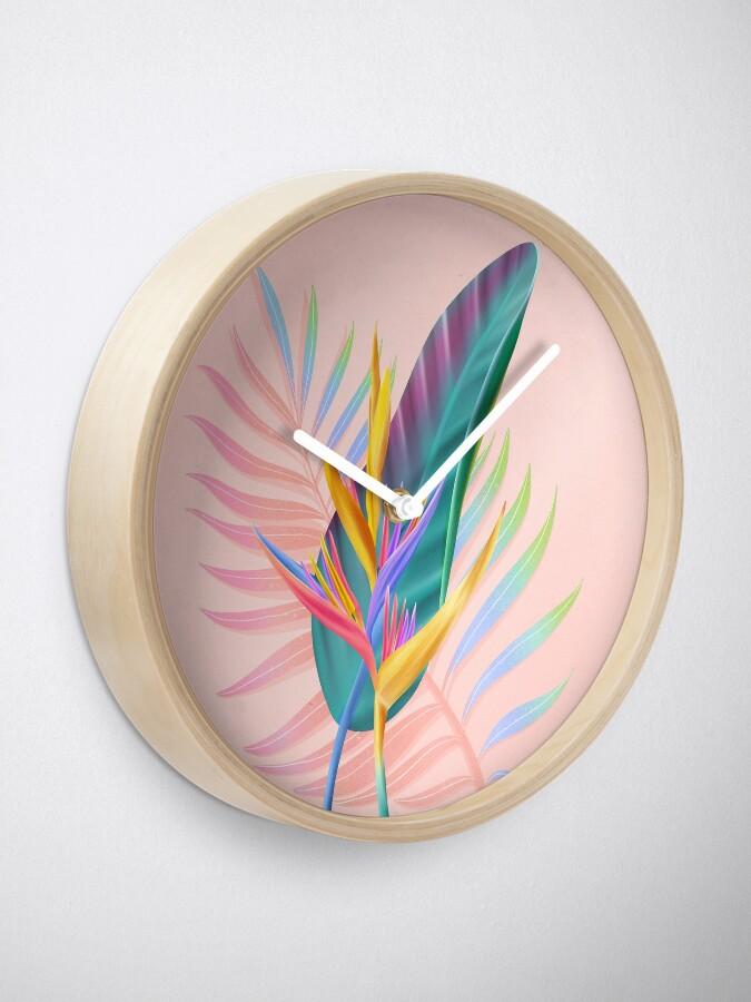 Alternate view of tropical bird of paradise Clock