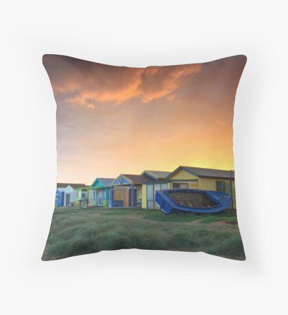 Campbells Cove Boat Sheds Throw Pillow