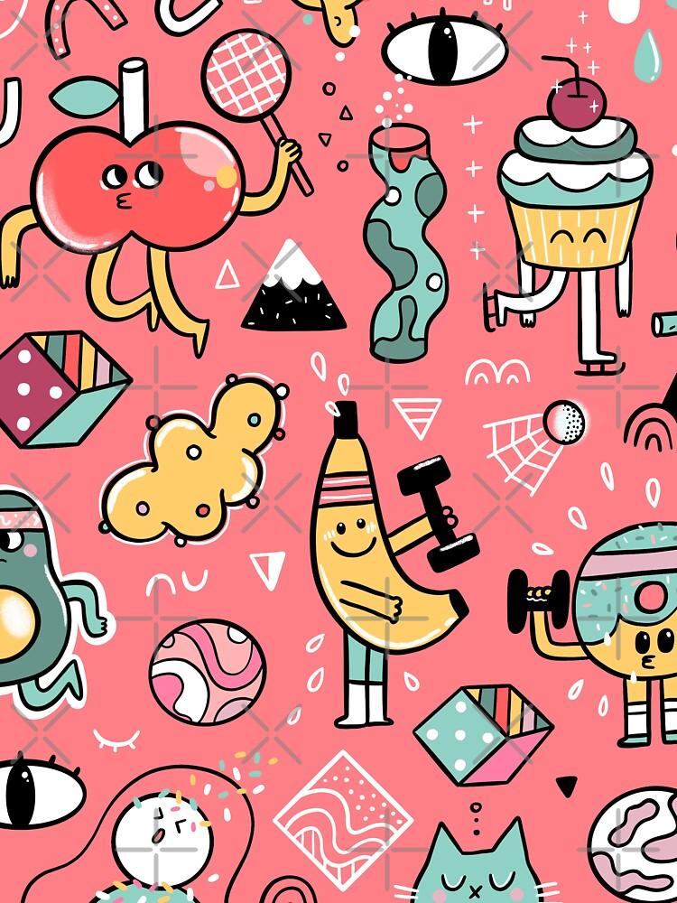 Funny crazy avocado, banana, ice cream, apple, cat, cupcake. Fitness food. by kostolom3000