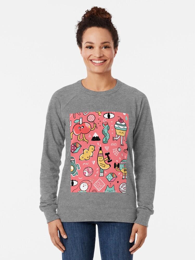 Alternate view of Funny crazy avocado, banana, ice cream, apple, cat, cupcake. Fitness food. Lightweight Sweatshirt