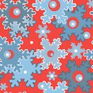 Christmas red blue snowflakes snow winter pattern by fuzzyfox