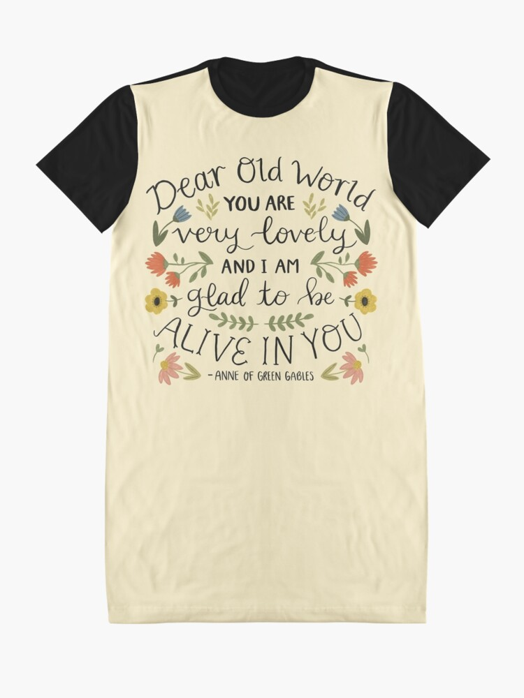 "Alternate view of Anne of Green Gables ""Dear Old World"" Quote Graphic T-Shirt Dress"