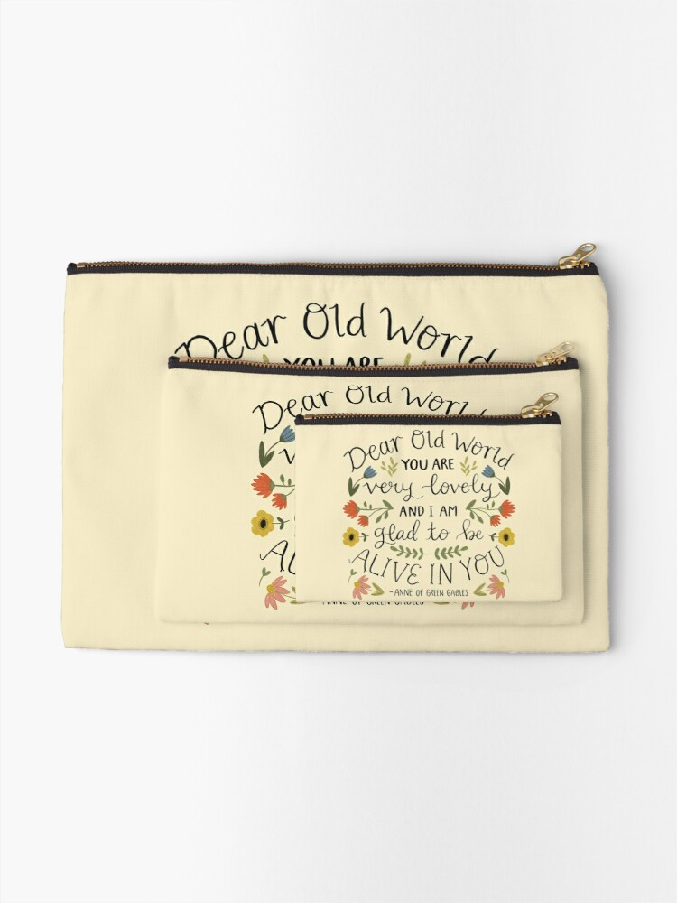 """Alternate view of Anne of Green Gables """"Dear Old World"""" Quote Zipper Pouch"""