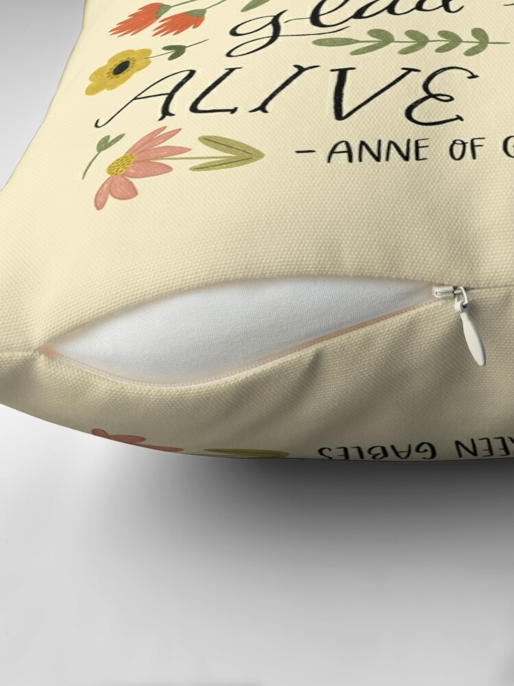"Alternate view of Anne of Green Gables ""Dear Old World"" Quote Throw Pillow"