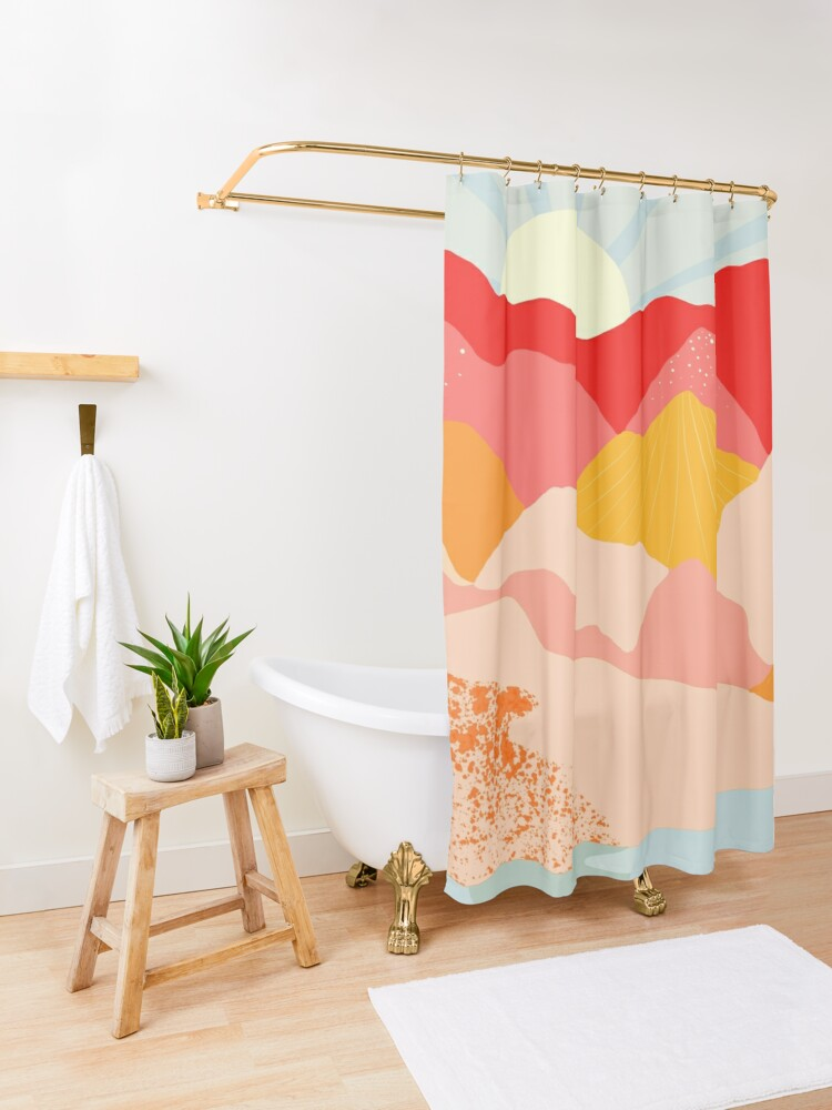 Alternate view of sunrise mountains Shower Curtain