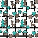 Seamless Christmas deer house tree eve snowflake hearts white gray blue by fuzzyfox