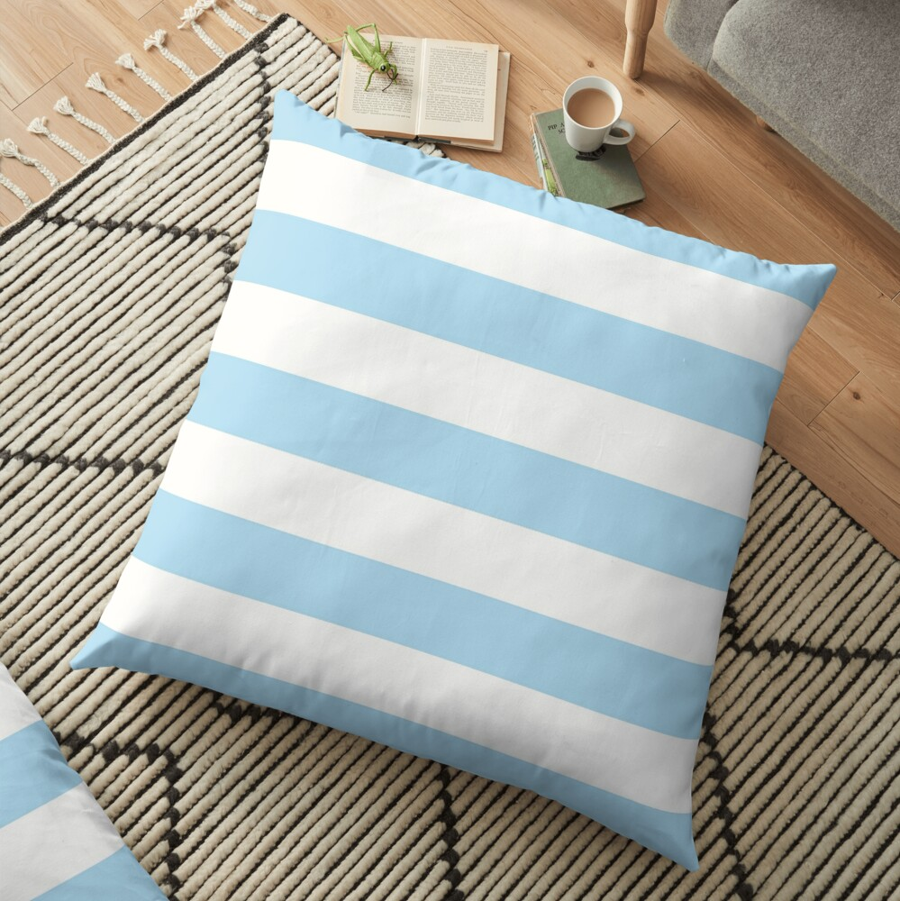 Stripes (Parallel Lines) - Blue White Floor Pillow