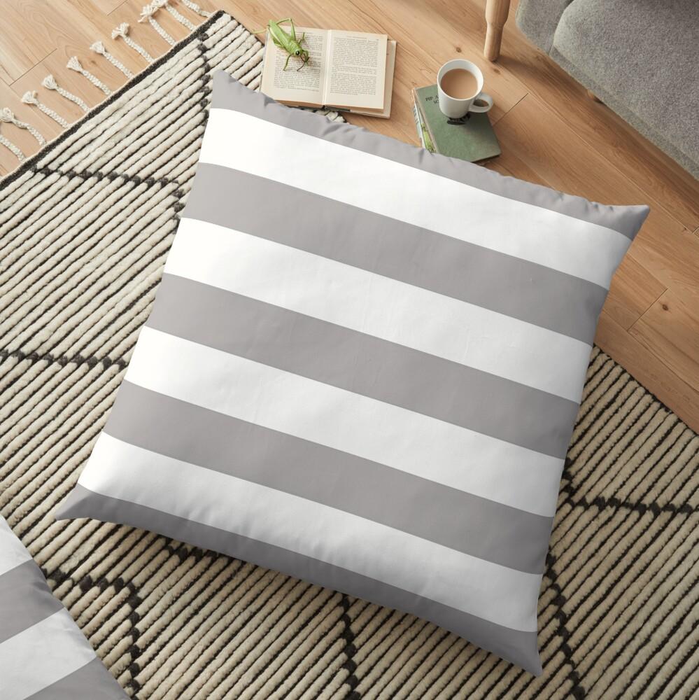 Stripes (Parallel Lines) - Gray White Floor Pillow