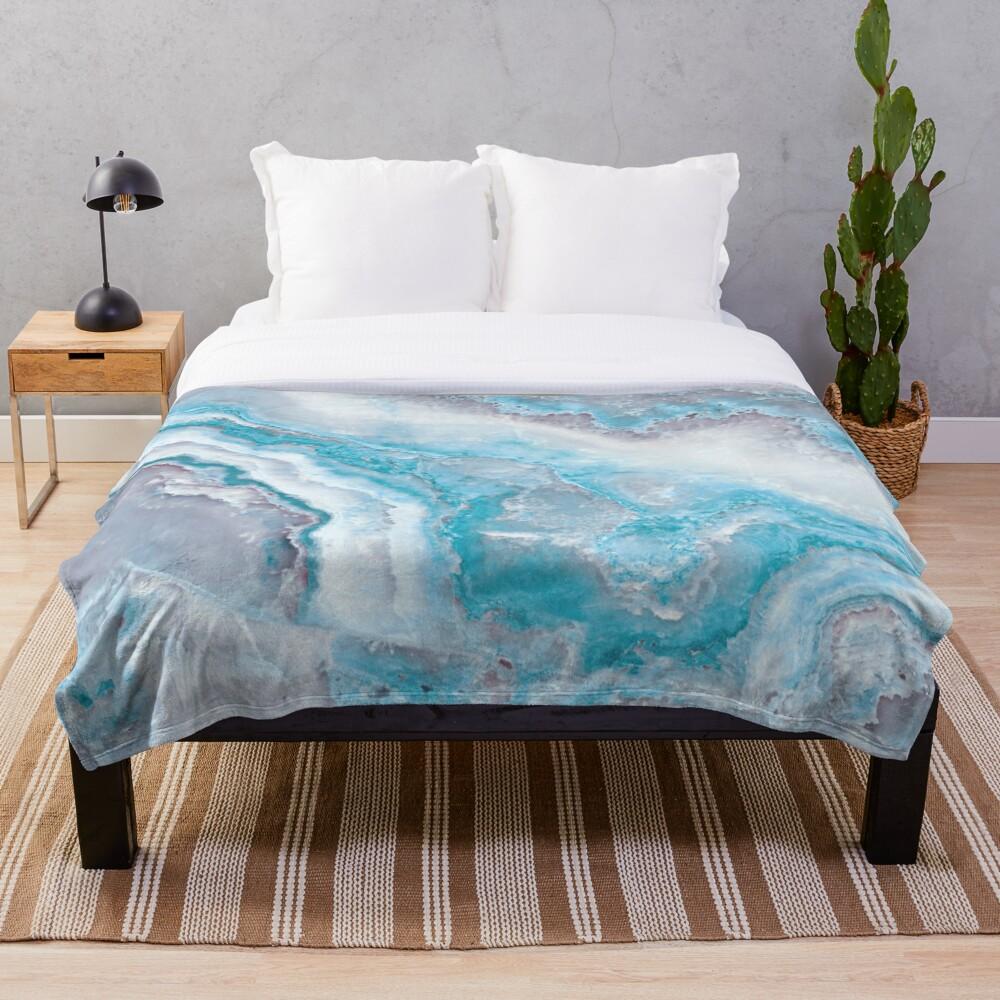 Luxury Mermaid Blue Agate Marble Geode Gem Throw Blanket
