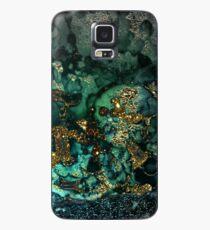 Gold Indigo Malachit Marmor Hülle & Klebefolie für Samsung Galaxy