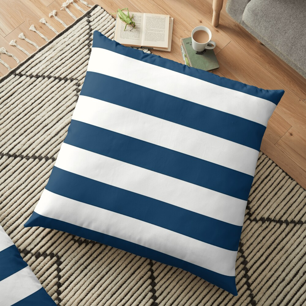 Stripes (Parallel Lines) - Navy Blue, White Floor Pillow
