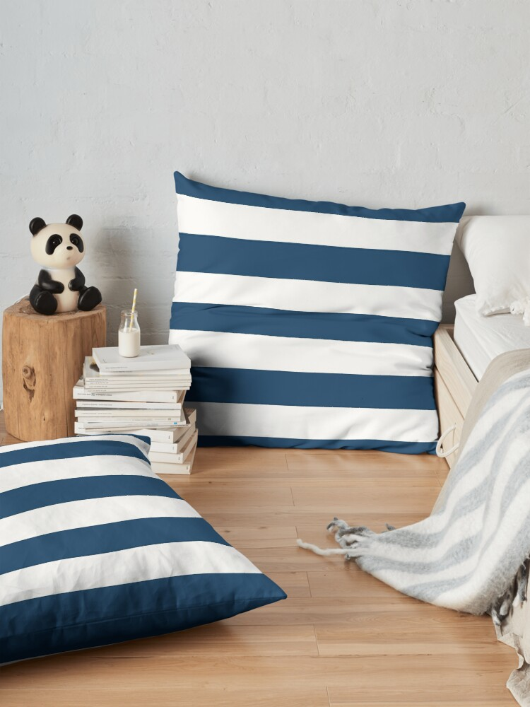 Alternate view of Stripes (Parallel Lines) - Navy Blue, White Floor Pillow