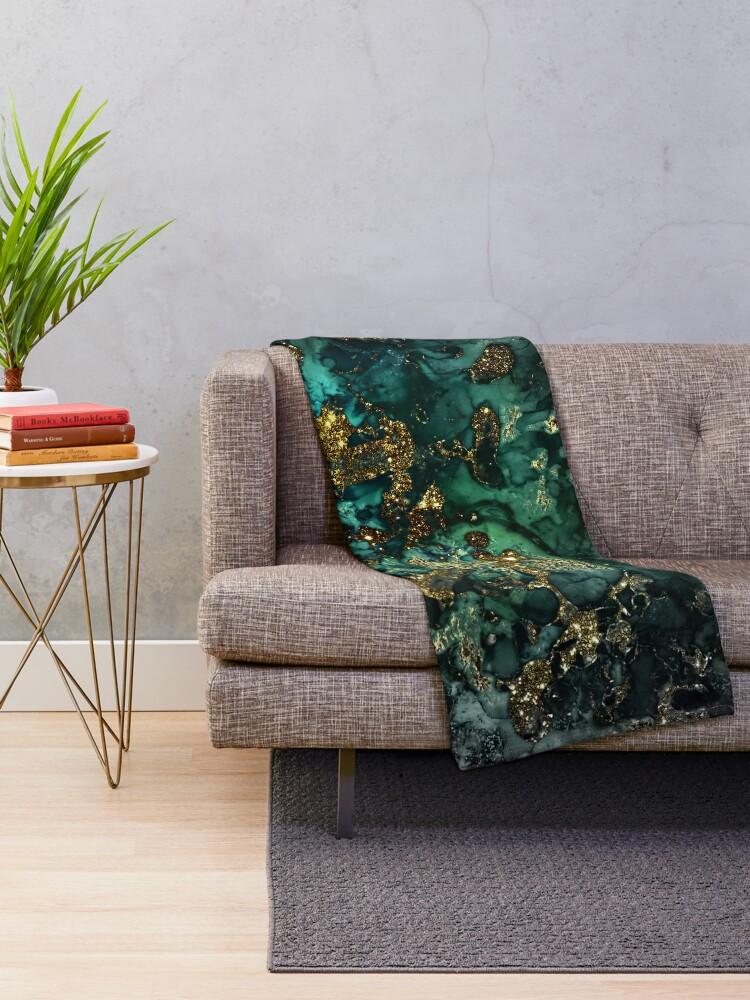 Alternative Ansicht von Gold Indigo Malachit Marmor Fleecedecke