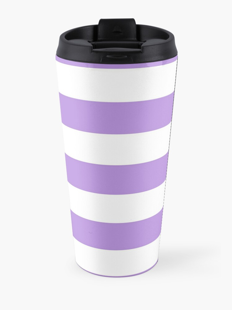 Alternate view of Stripes (Parallel Lines) - Purple White Travel Mug