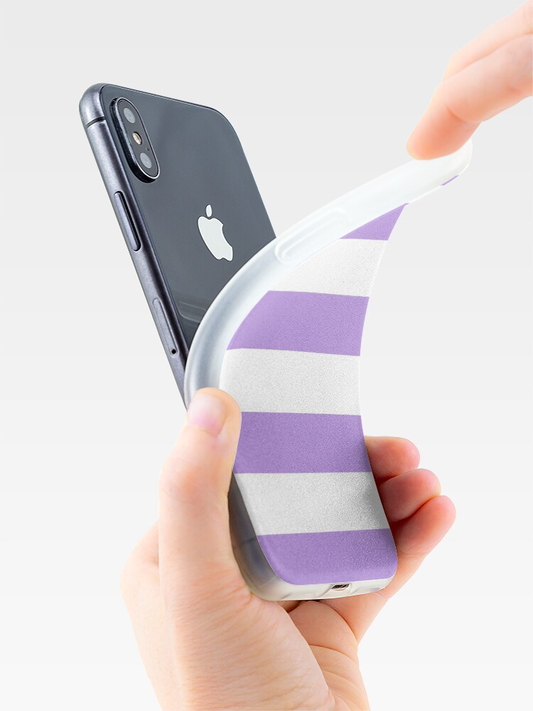 Alternate view of Stripes (Parallel Lines) - Purple White iPhone Case & Cover