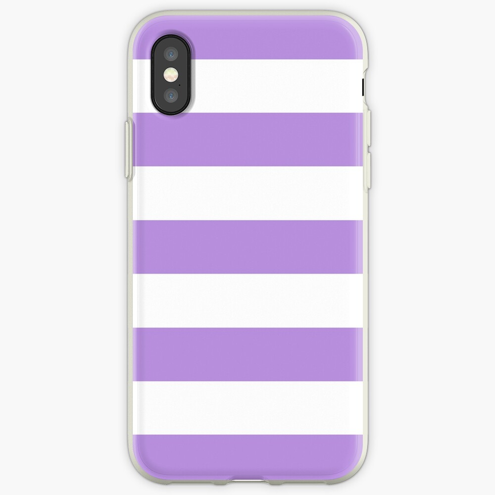 Stripes (Parallel Lines) - Purple White iPhone Case & Cover