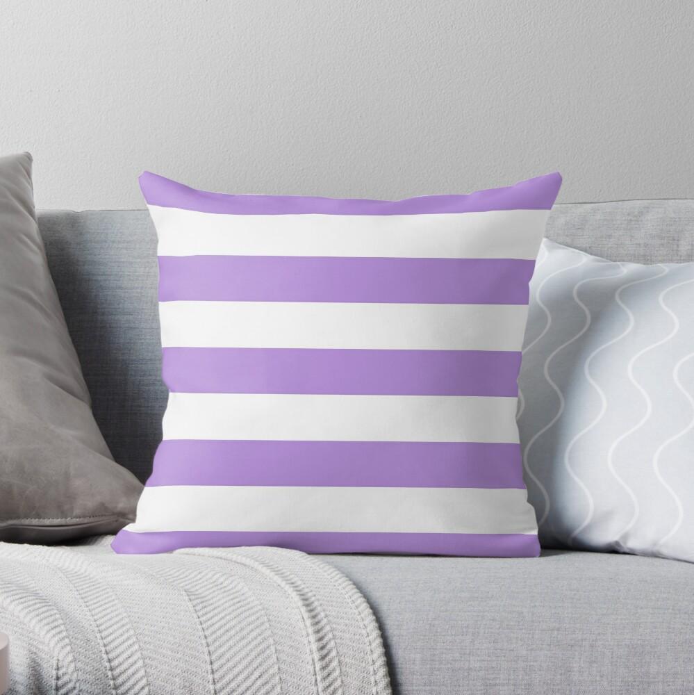 Stripes (Parallel Lines) - Purple White Throw Pillow