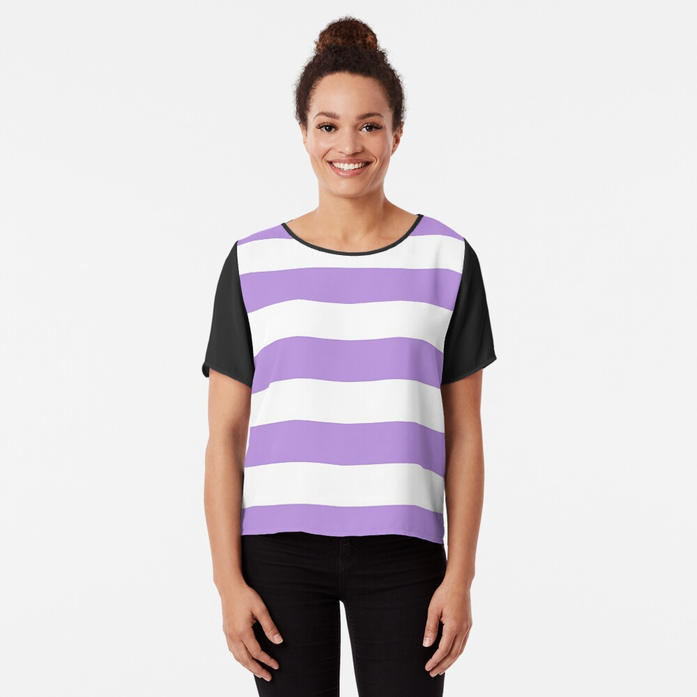 Stripes (Parallel Lines) - Purple White Chiffon Top