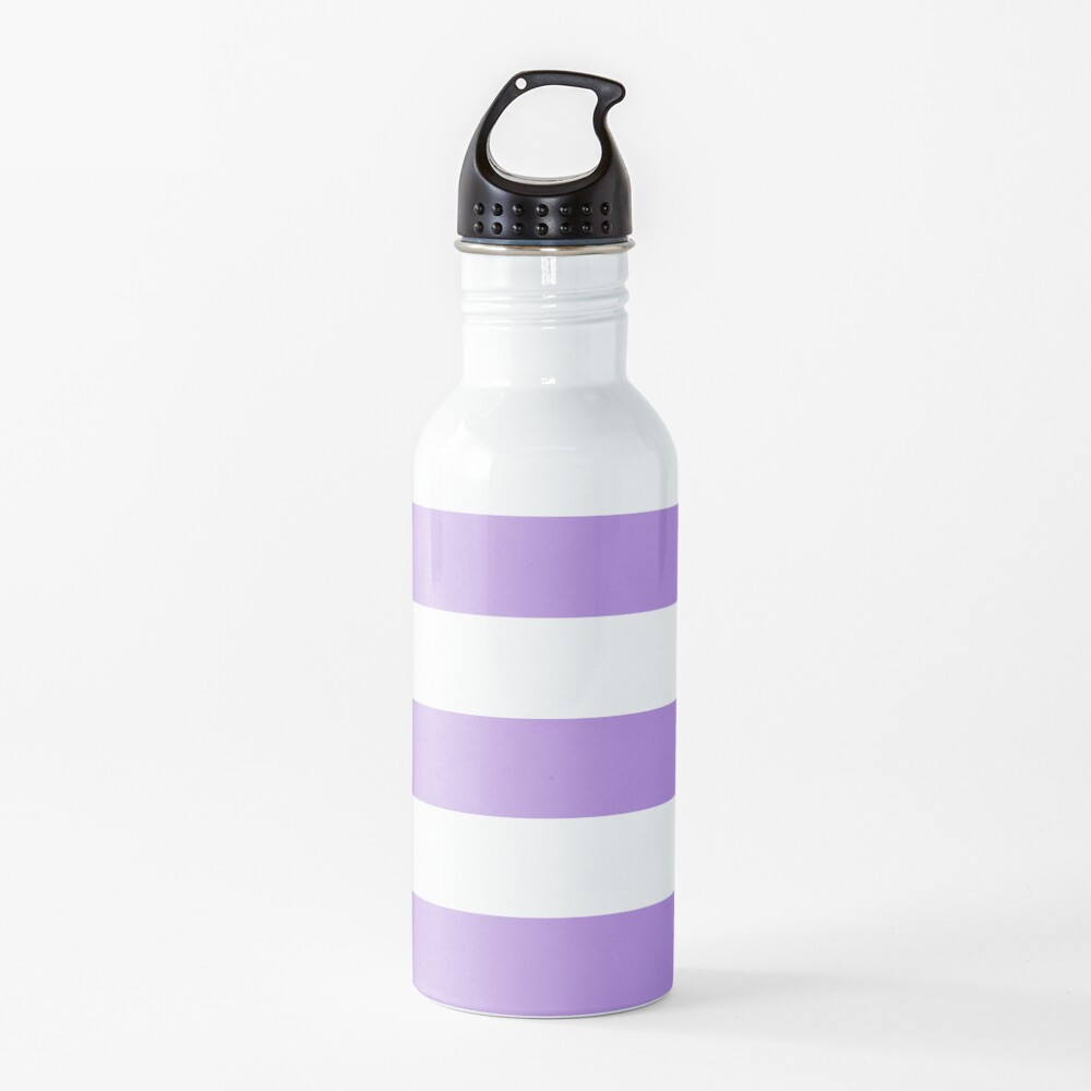 Stripes (Parallel Lines) - Purple White Water Bottle