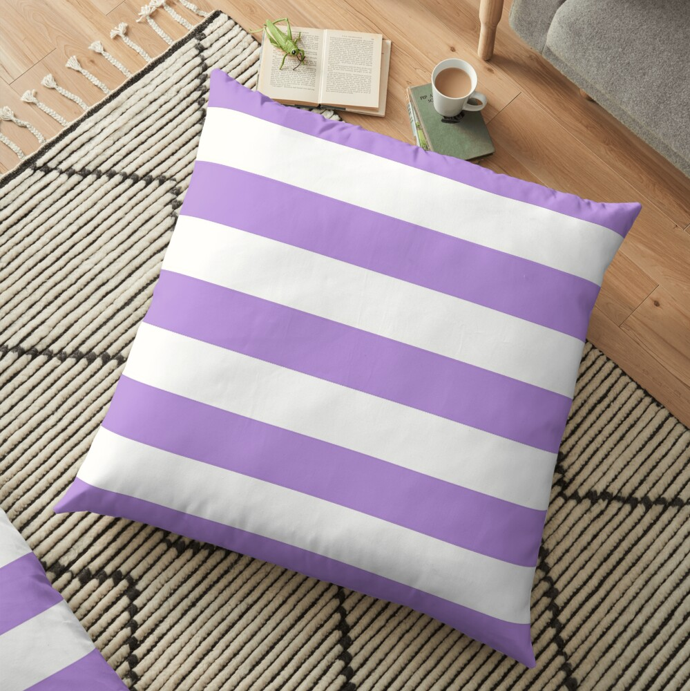 Stripes (Parallel Lines) - Purple White Floor Pillow