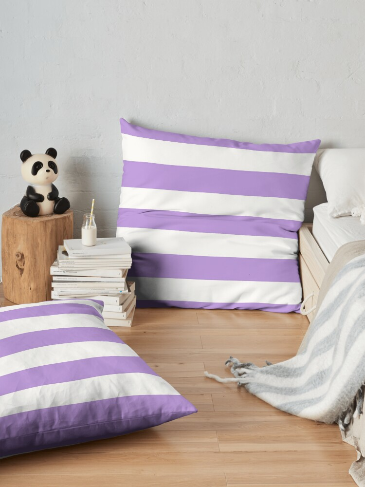 Alternate view of Stripes (Parallel Lines) - Purple White Floor Pillow