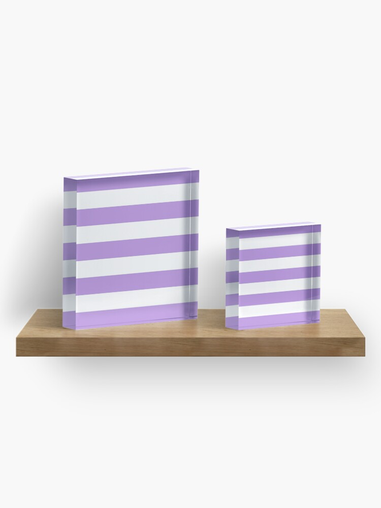 Alternate view of Stripes (Parallel Lines) - Purple White Acrylic Block