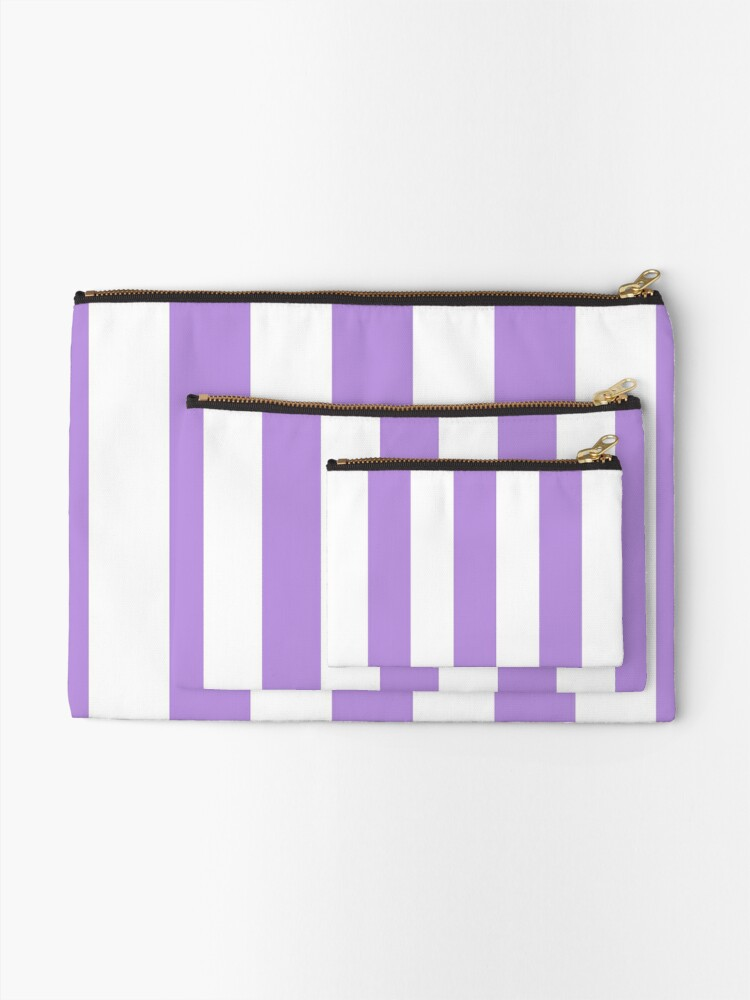Alternate view of Stripes (Parallel Lines) - Purple White Zipper Pouch