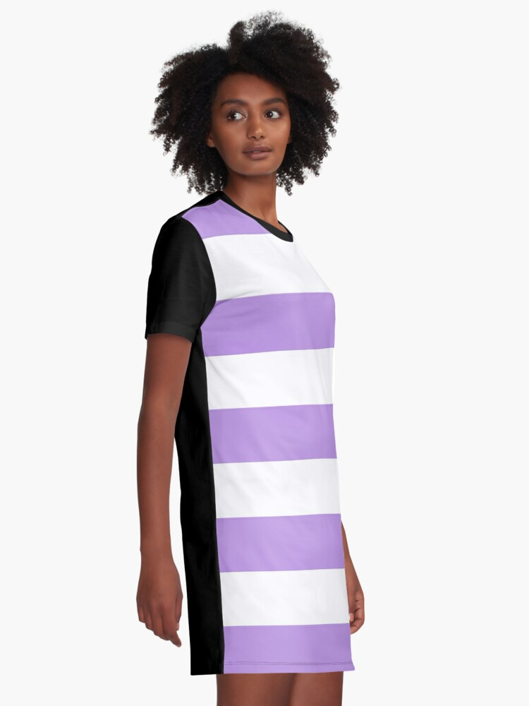 Alternate view of Stripes (Parallel Lines) - Purple White Graphic T-Shirt Dress