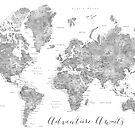 Abenteuer erwartet ... detaillierte Weltkarte in Graustufen-Aquarell von blursbyai