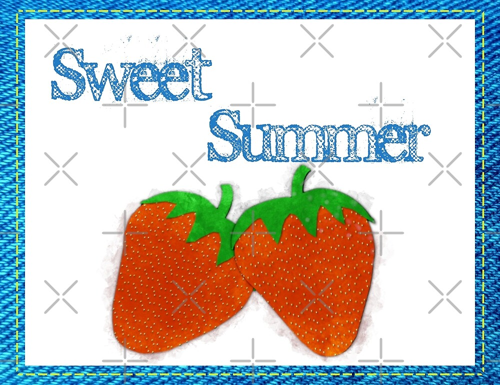 Sweet Summer - Strawberries Watercolor by Colleen Cornelius