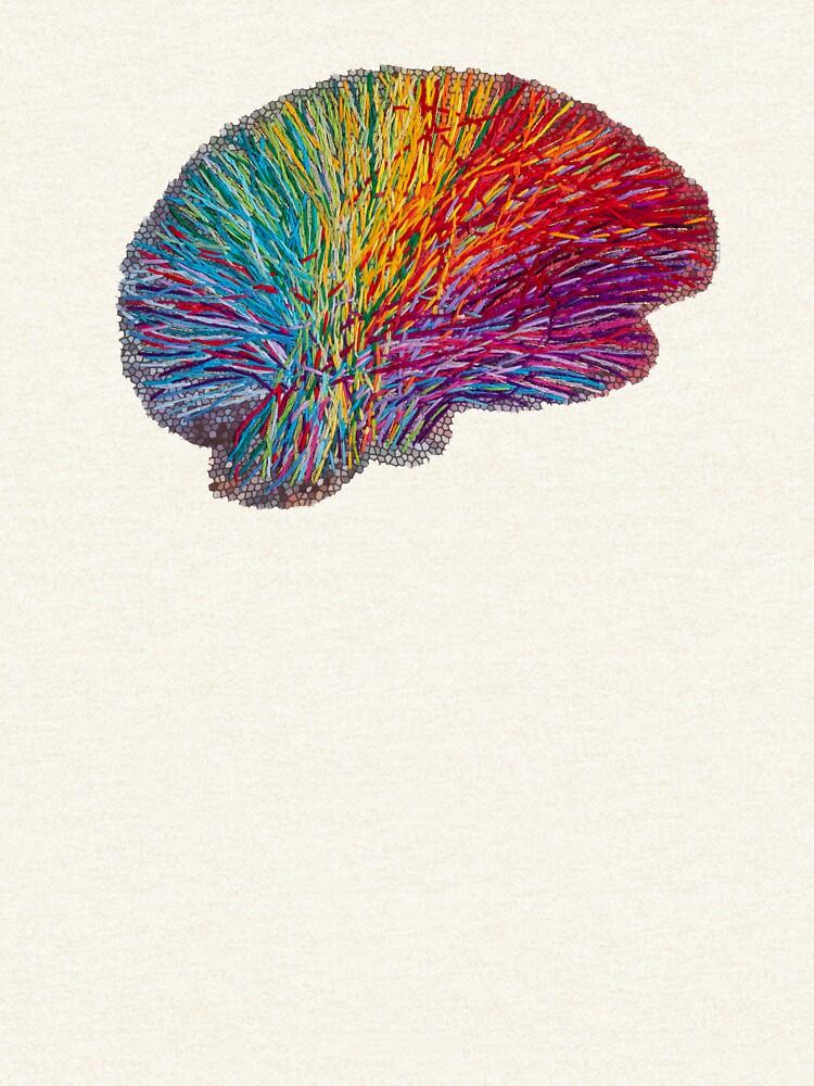White Matter Brain - Embroidered Look - Rainbow Brain  by Laurabund