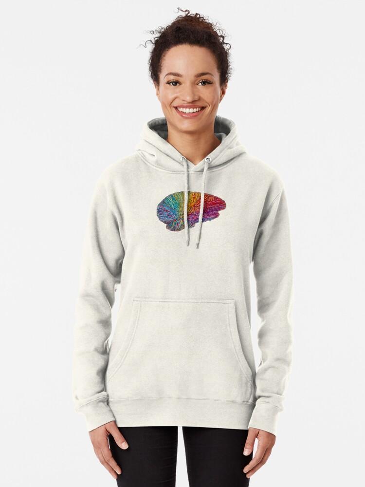 Alternate view of White Matter Brain - Embroidered Look - Rainbow Brain  Pullover Hoodie