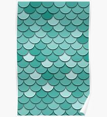 Teal Fish Scale Poster