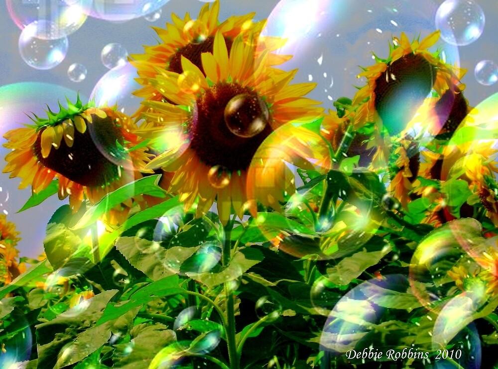 Bubbly Make A Wish Sunflowers by Debbie Robbins