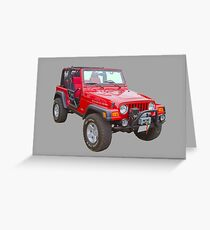 Red Jeep Wrangler Rubicon 4x4 Greeting Card