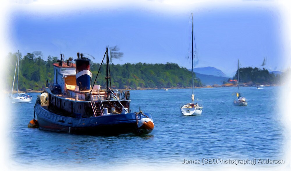 Little Tugboat  - Digital Oil Painting by James Anderson
