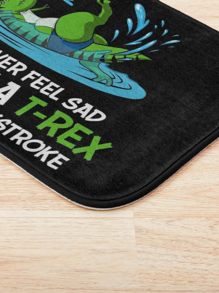Alternate view of Funny Dinosaur T-Rex Hates Backstroke Swimming Bath Mat