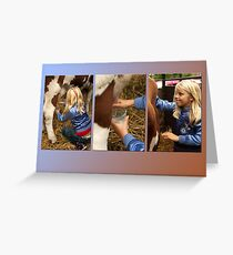 The girl and the cow - triptych 2 Greeting Card
