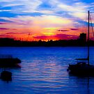 Sunset over Gosport from Portsmouth by Lyndy