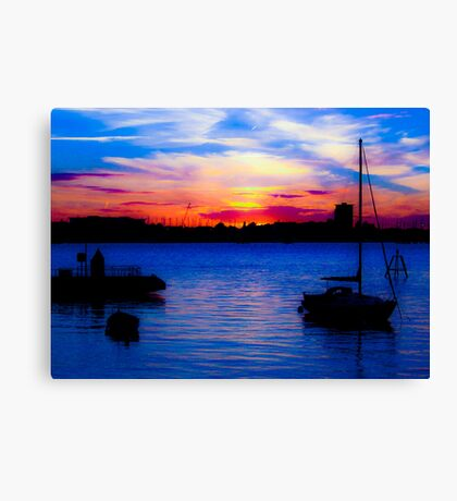 Sunset over Gosport from Portsmouth Canvas Print