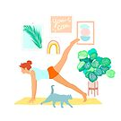 Yoga practice with cat and tropical plants - You can! by Dominiquevari