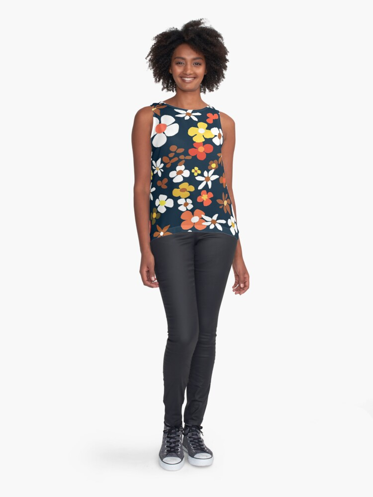 Alternate view of Floral Riot on Blue Sleeveless Top
